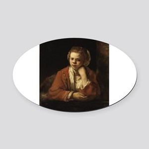 Girl at a Window - Rembrandt - c1651 Oval Car Magn