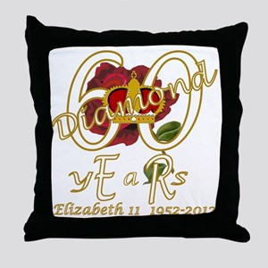 ER 60 Diamond Years 1952_2012_gold Throw Pillow