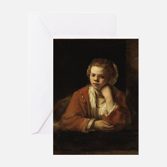 Girl at a Window - Rembrandt - c1651 Greeting Card
