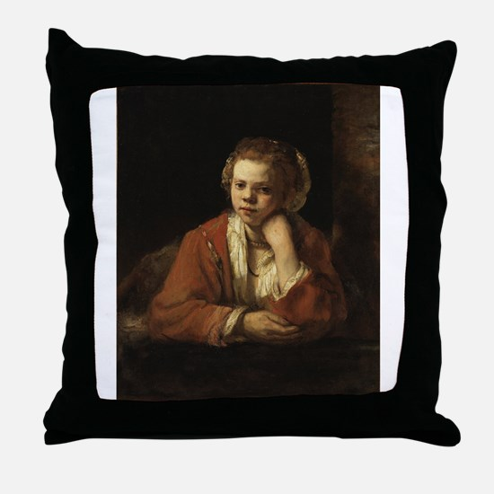 Girl at a Window - Rembrandt - c1651 Throw Pillow