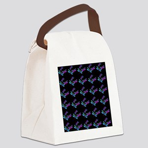 Queen Iridescent Dragonflies Blac Canvas Lunch Bag