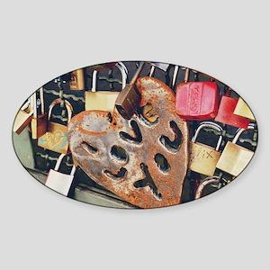 love locks 14x10_print Sticker (Oval)