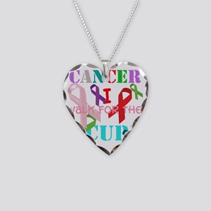Cancer, I walk for a cure Necklace Heart Charm