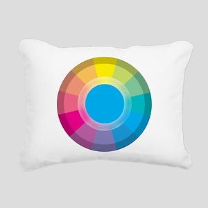 Colour Wheel cyan Rectangular Canvas Pillow