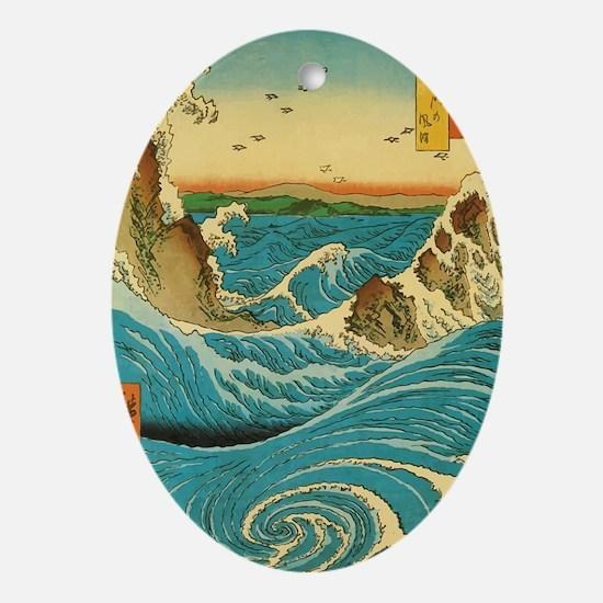 HiroshigeRapids1 Oval Ornament