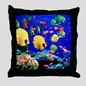 Under Sea Coral  Tropical Fish Shower Throw Pillow