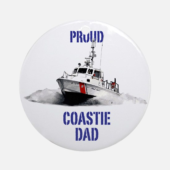 USCG Boat Dad Round Ornament