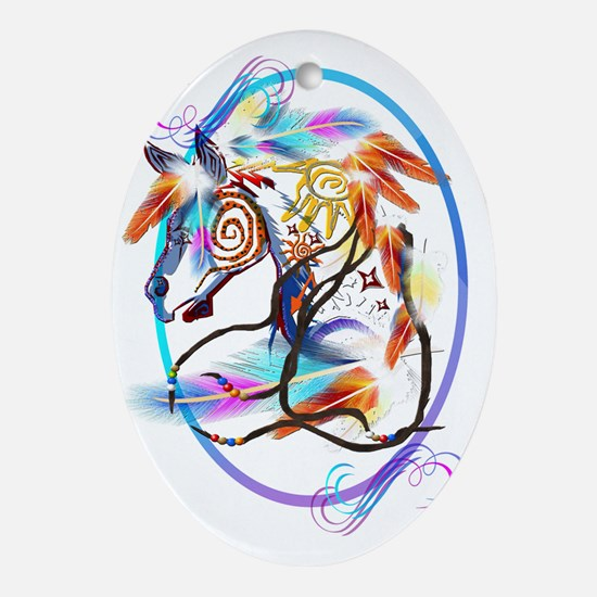 Bright Horse Framed Trans Oval Ornament