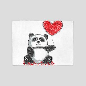 Panda with Heart Balloon 5'x7'Area Rug