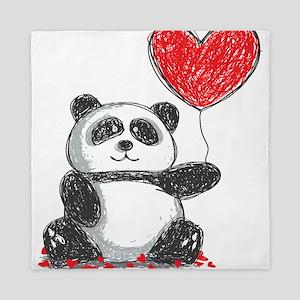 Panda with Heart Balloon Queen Duvet