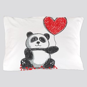 Panda with Heart Balloon Pillow Case
