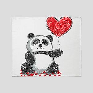 Panda with Heart Balloon Throw Blanket