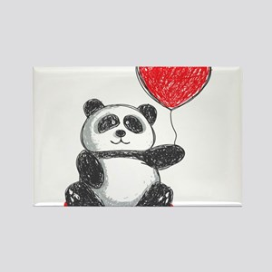 Panda with Heart Balloon Magnets