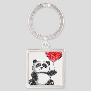 Panda with Heart Balloon Keychains