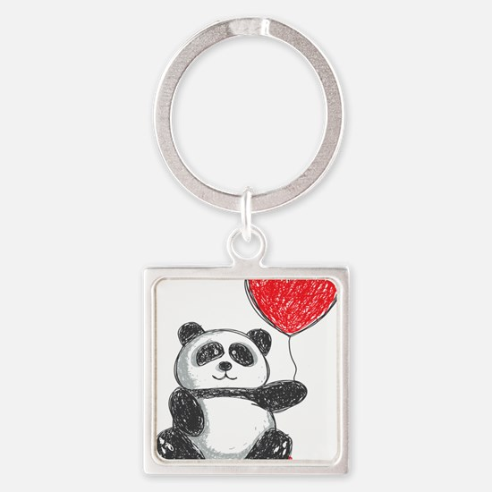 Panda with Heart Balloon Keychains