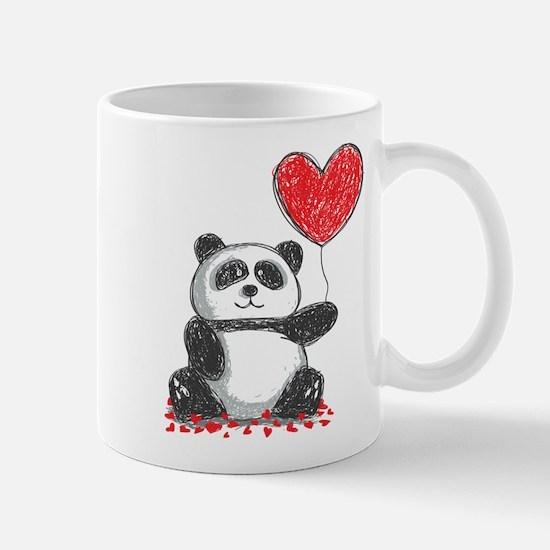 Panda with Heart Balloon Mugs