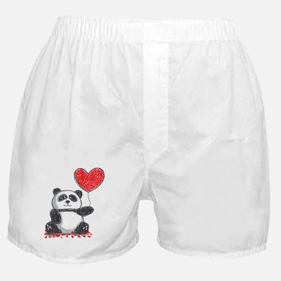 Panda with Heart Balloon Boxer Shorts