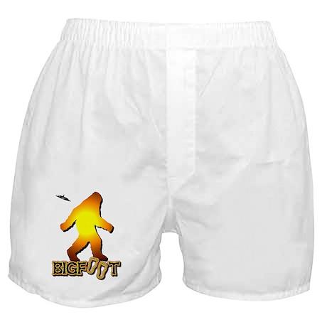 Bigfoot in Orange Boxer Shorts