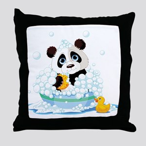 Panda in Bubbles Throw Pillow