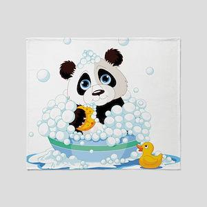 Panda in Bubbles Throw Blanket