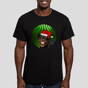 rottweilerxmas-round Men's Fitted T-Shirt (dark)
