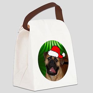 mastiffxmas-round Canvas Lunch Bag