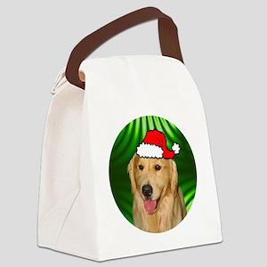 goldenretrieverxmas-round Canvas Lunch Bag