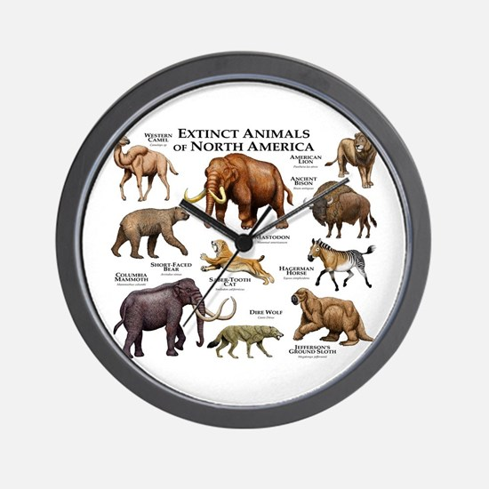 Extinct Animals of North America Wall Clock