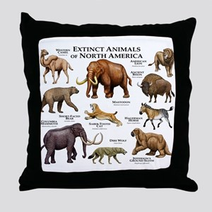Extinct Animals of North America Throw Pillow