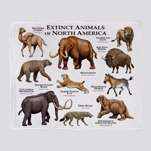 Extinct Animals of North America Throw Blanket