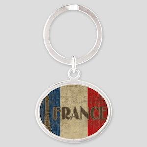 france_fl_Vintage1 Oval Keychain