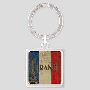 france_fl_Vintage1 Square Keychain