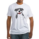 Smiling pit bull blue Fitted Light T-Shirts