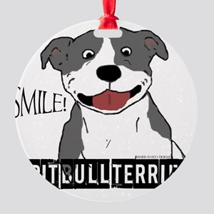 Pit Smile Blue full text Round Ornament