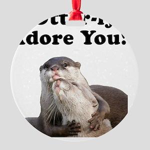 Otterly Adore Black Round Ornament