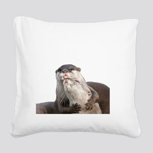 Significant Otter White Square Canvas Pillow
