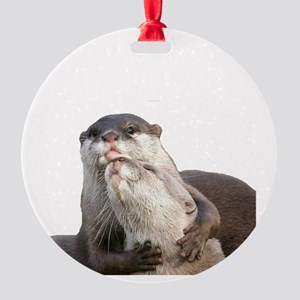 Significant Otter White Round Ornament