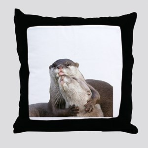 Significant Otter White Throw Pillow