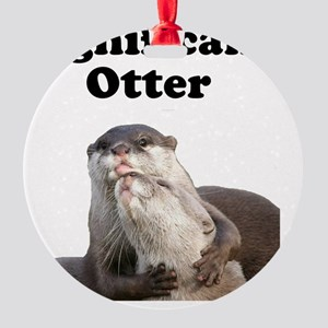 Significant Otter Black Round Ornament