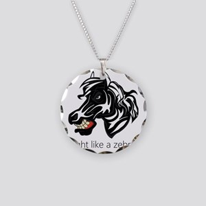 Fight Like a Zebra Necklace Circle Charm