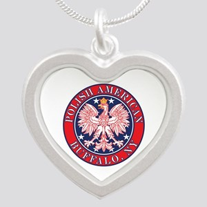 Buffalo New York Polish Silver Heart Necklace