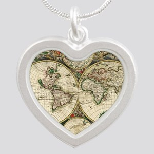 World_Map_1689 Silver Heart Necklace
