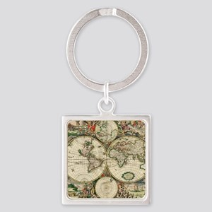 World_Map_1689 Square Keychain