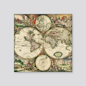 "World_Map_1689 Square Sticker 3"" x 3"""