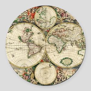 World_Map_1689 Round Car Magnet