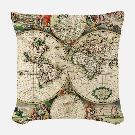 World_Map_1689 Woven Throw Pillow