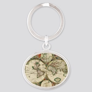 World_Map_1689 Oval Keychain