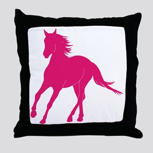 10x10pink horse Throw Pillow