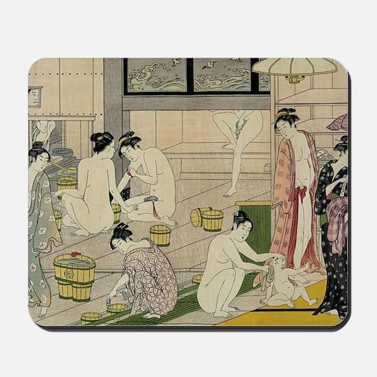 Kiyonaga bathhouse women Mousepad