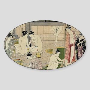 Kiyonaga bathhouse women Sticker (Oval)